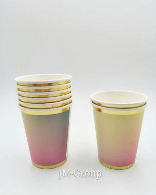 PAPER CUP RAINBOW GOLD LINE 8PCS