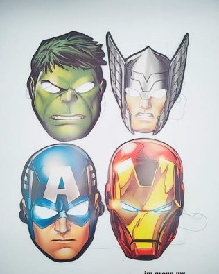 AVENGER PAPER MASK 8PCS ( IRON MAN , HULK , THOR , CAPTAIN )