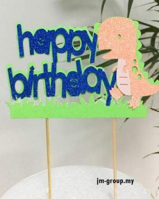 HAPPY BIRTHDAY DINO CAKE TOPPER