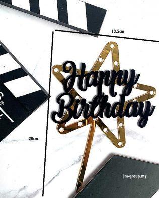 HAPPY BIRTHDAY/ BEST DAD STAR ACRYLIC CAKE TOPPER