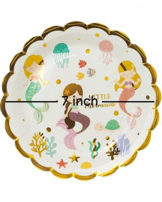 GOLD LINE Little Mermaid Paper Plate 7 Inchi 10PCS